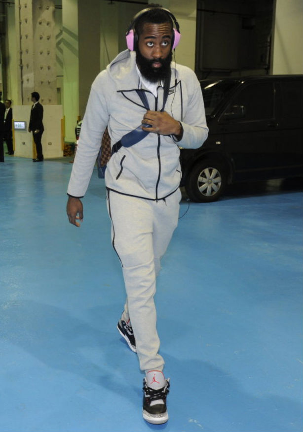 James Harden wearing Air Jordan III 3 Retro Black Cement