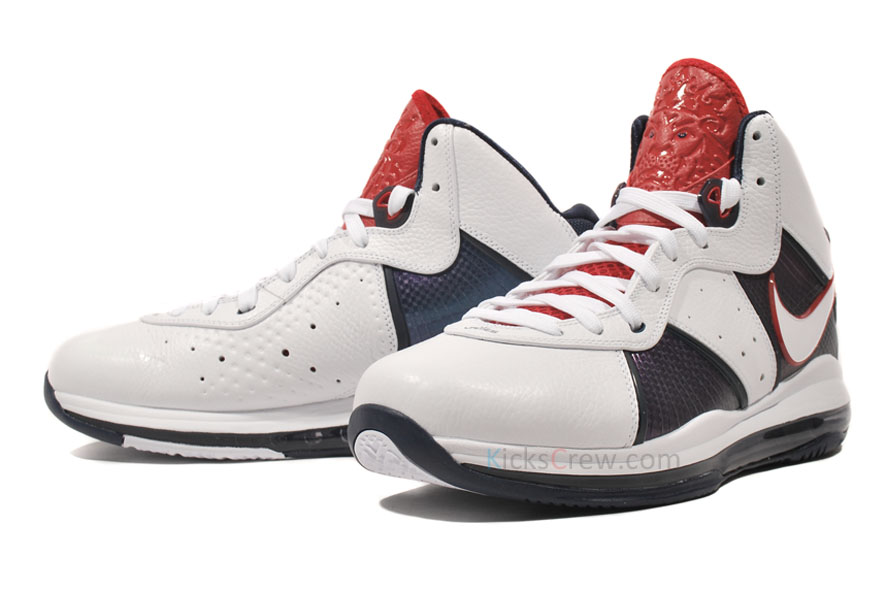 new product a130b d53d8 Nike Air Max LeBron 8 USA White White Midnight Navy Varsity Red 417098-100  ...