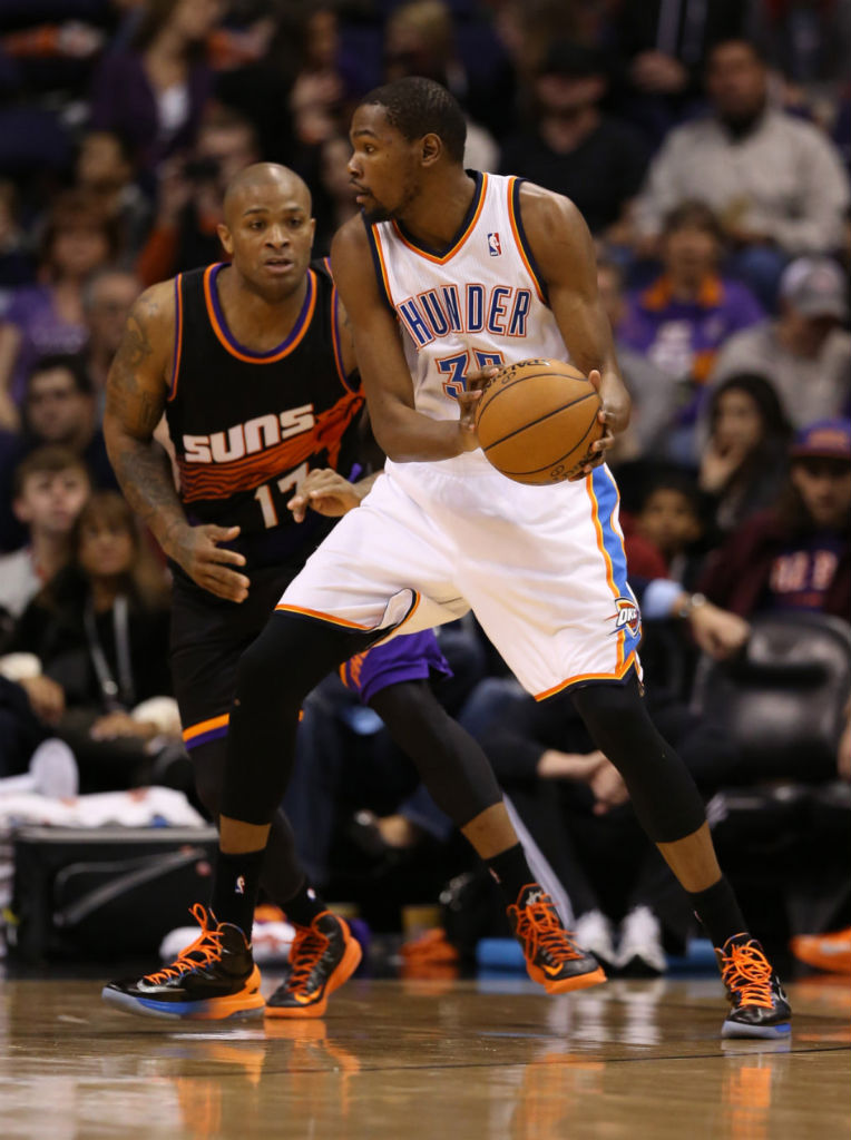 P.J. Tucker wearing Nike KD V Black Orange; Kevin Durant wearing Nike KD V PE