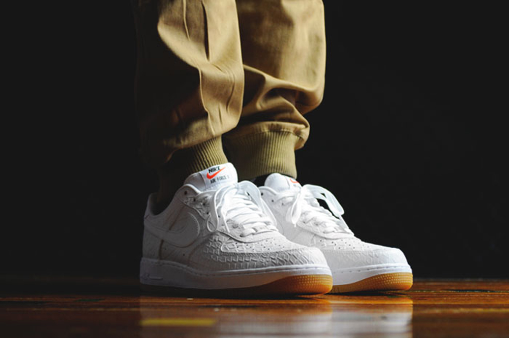 check out 7435c 15473 White  Croc  Nike Air Force 1 Lows With a Gum Bottom