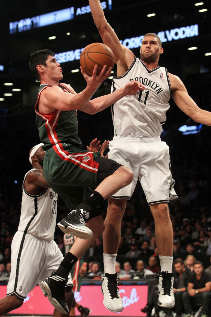 Ersan Ilyasova wearing adidas Crazy Fast; Brook Lopez wearing adidas adizero Ghost 2
