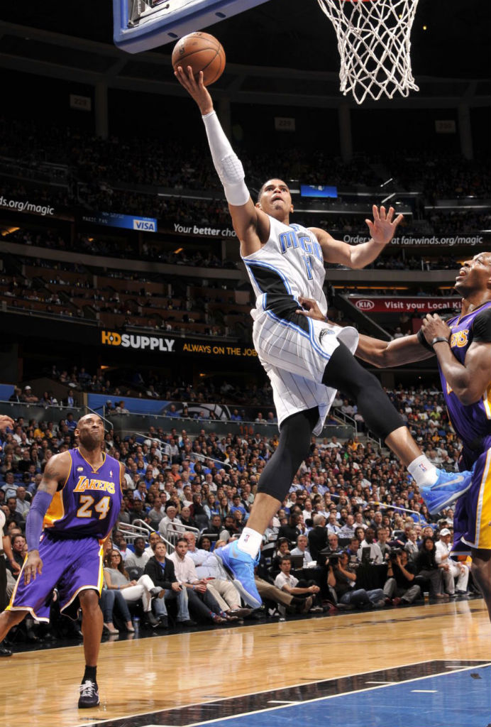 Tobias Harris wearing NIke Kobe 8 System Blue Lights; Kobe Bryant wearing Nike Kobe 8 PE