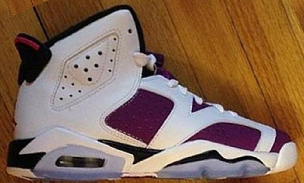 Air Jordan 6 Retro Girls White/Vivid Pink-Bright Grape-Black