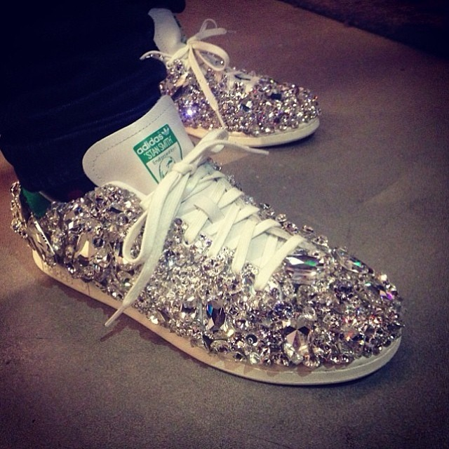 Pharrell Wears Swarovski x adidas Originals Stan Smith Custom
