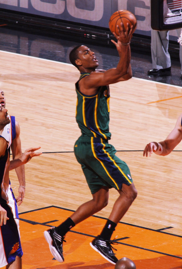 Alec Burks wearing adidas adizero Crazy Light Low