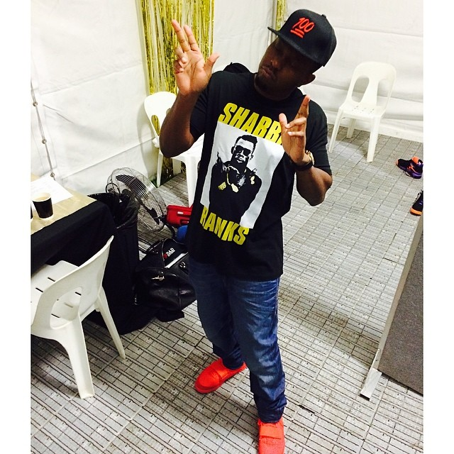 Dizzee Rascal wearing Nike Air Yeezy II 2 Red October
