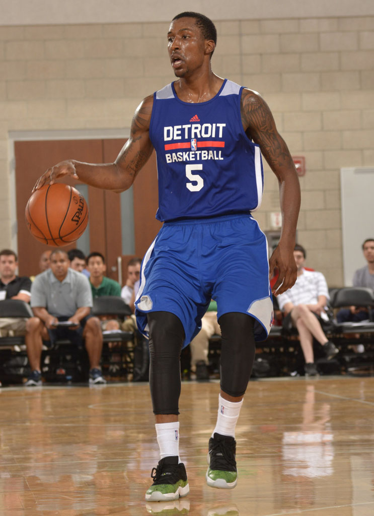 Kentavious Caldwell-Pope wearing Air Jordan XI 11 Low Green Snake