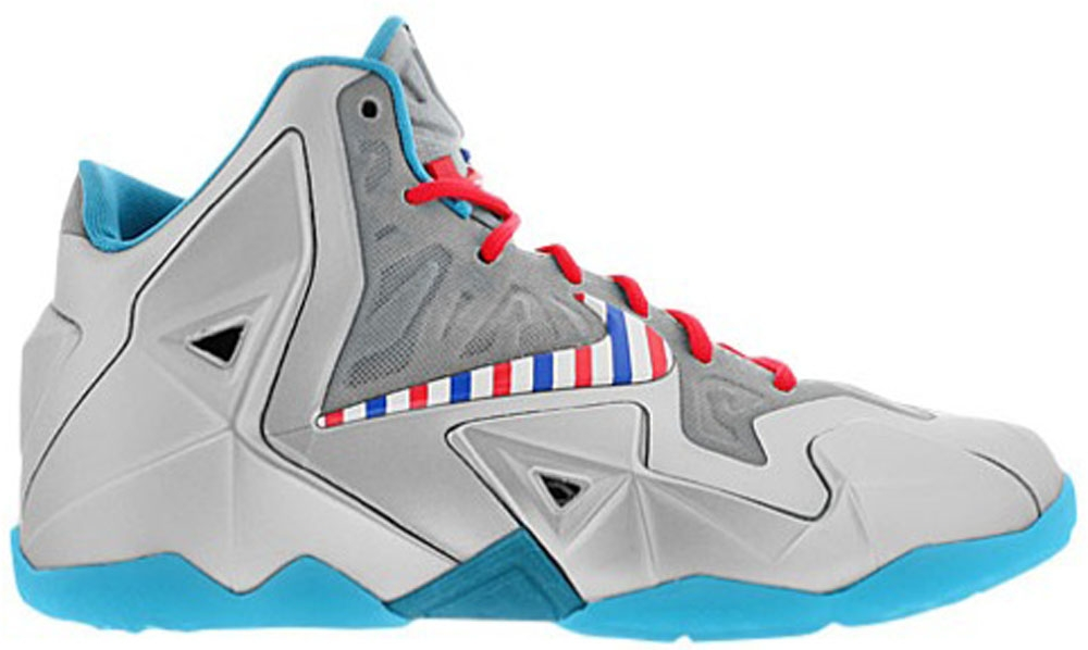 Nike Lebron 11 GS Metallic Silver/White-Turquoise Blue-Laser Crimson