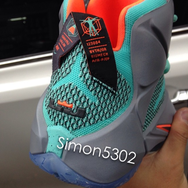 ebc1dc31183 Nike LeBron XII 12 Teal Grey-Orange Sample (12)