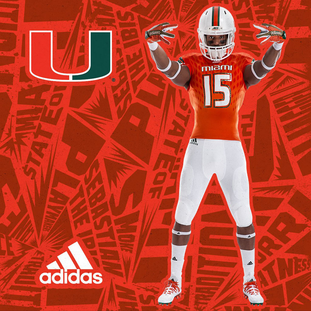 various colors db74a af461 Two Cleat Options Highlight the Miami Hurricanes' New adidas ...