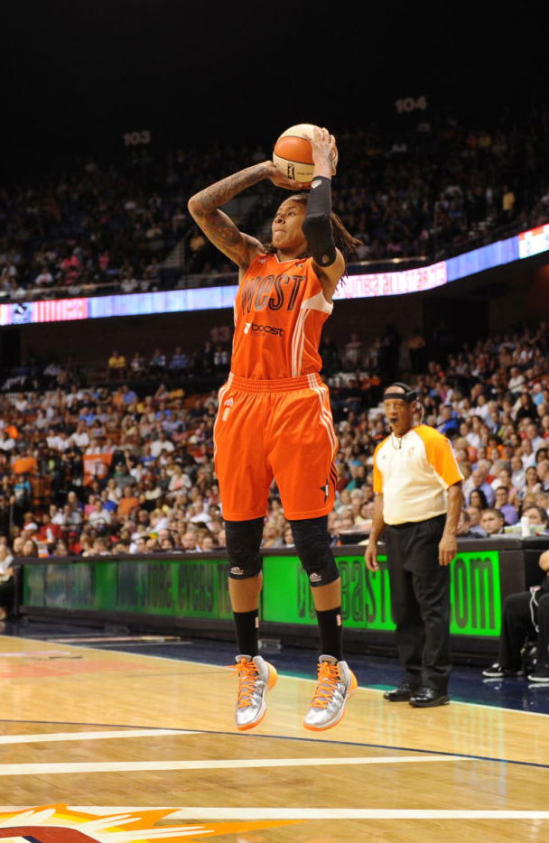 Seimone Augustus wearing Nike Hyperdunk 2013 All-Star PE