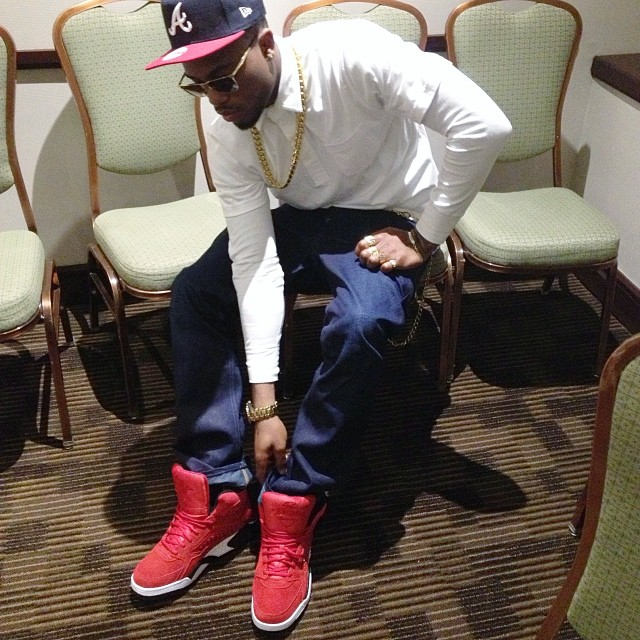 B.o.B. wearing Ewing Focus Red Suede
