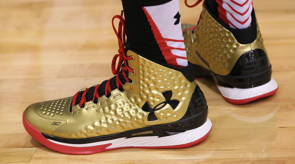 premium selection fad3f 53909 Under Armour Curry One Gold Black Red