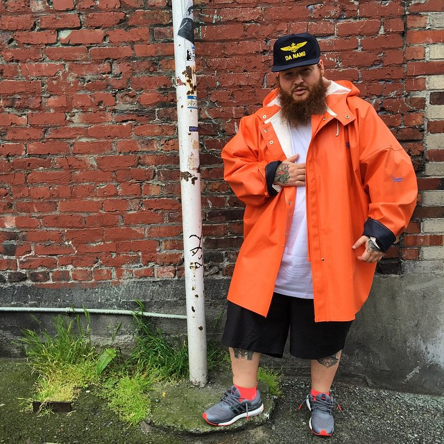 the latest 84e11 9fbfa Action Bronson wearing the adidas Energy Boost 2 in GreySolar Red