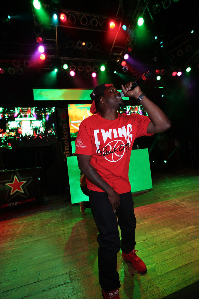 Pusha T wearing Ewing Athletics 33 Hi Red (2)