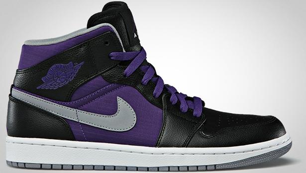 Air Jordan 1 Phat Mid Black/Stealth-Court Purple-White