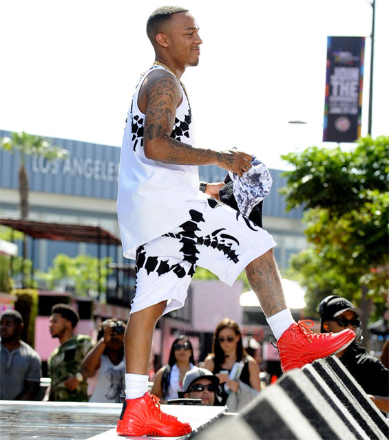 Bow Wow wearing Air Jordan XII 12 Red Custom