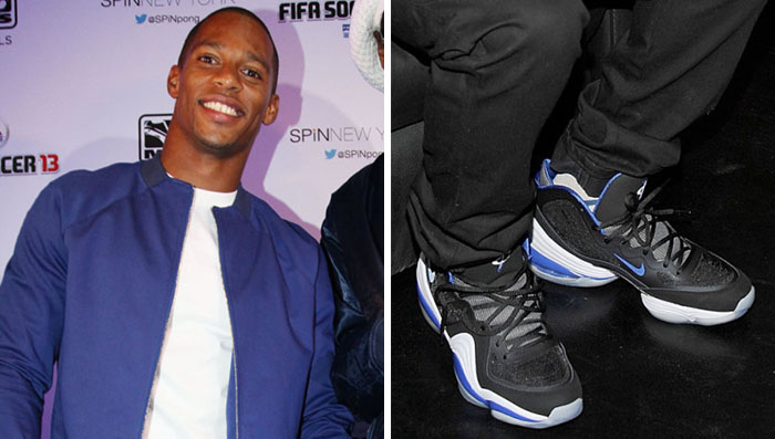 Victor Cruz wearing Nike Air Penny V Orlando Magic