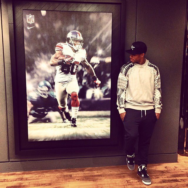 Victor Cruz wearing Air Jordan 4 IV Retro Fear Pack