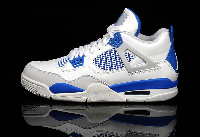 Air Jordan 4 Retro White Military Blue Neutral Grey shoes