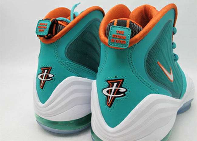 save off 3b18c 32d6c Nike Air Penny V Miami Dolphins New Green White Safety Orange 537331-300 (4