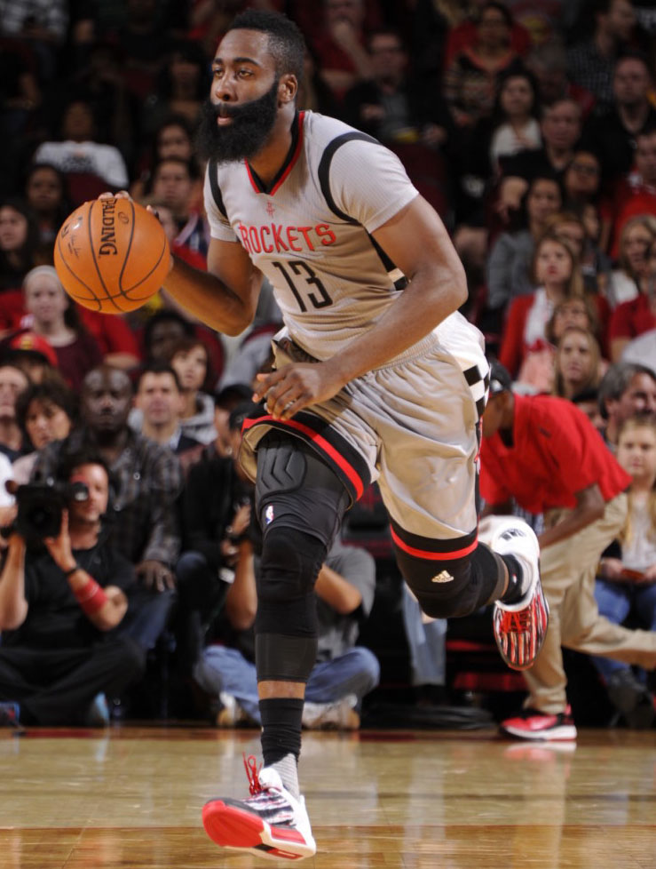 3a58813f7d8 ... store james harden wearing an adidas crazylight boost 2015 stripe pe 2  f9916 dd3dc