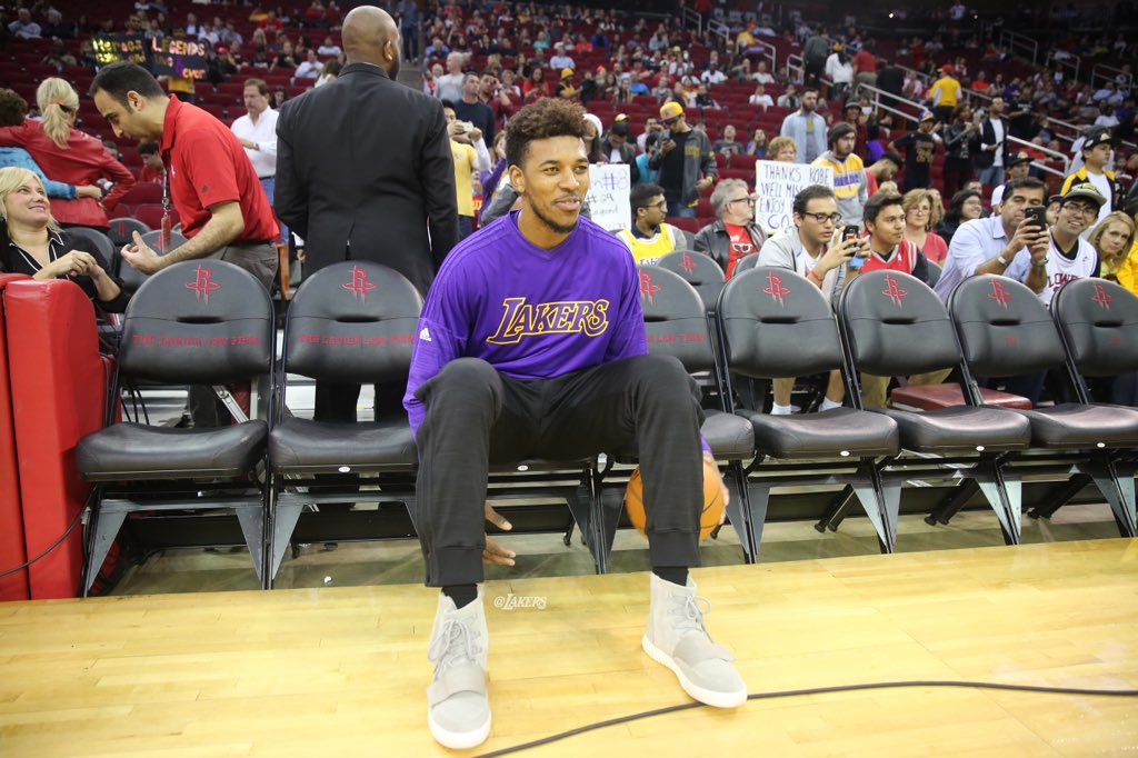 Nick Young wearing adidas Yeezy 750 Boost