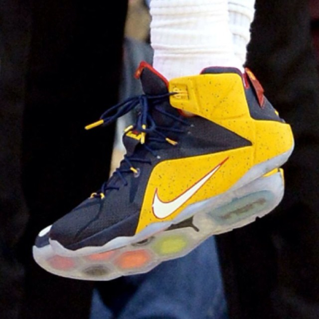 LeBron James wearing Nike LeBron XII 12 Blue Cavs PE (7)