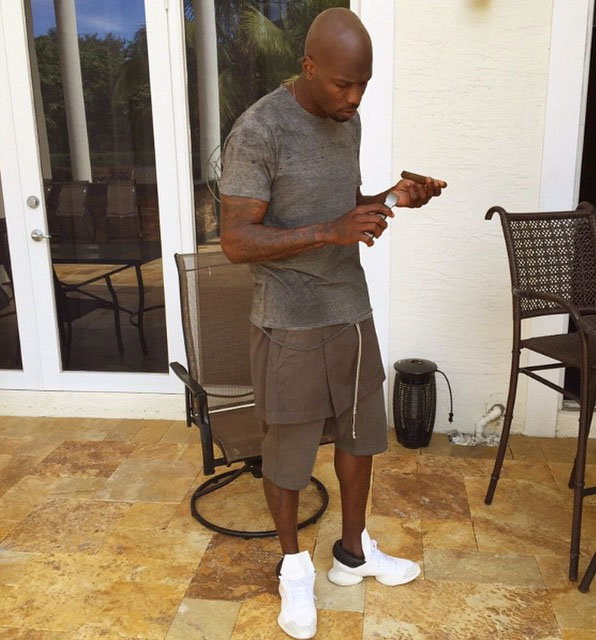 Chad Johnson wearing Rick Owens x adidas Runner