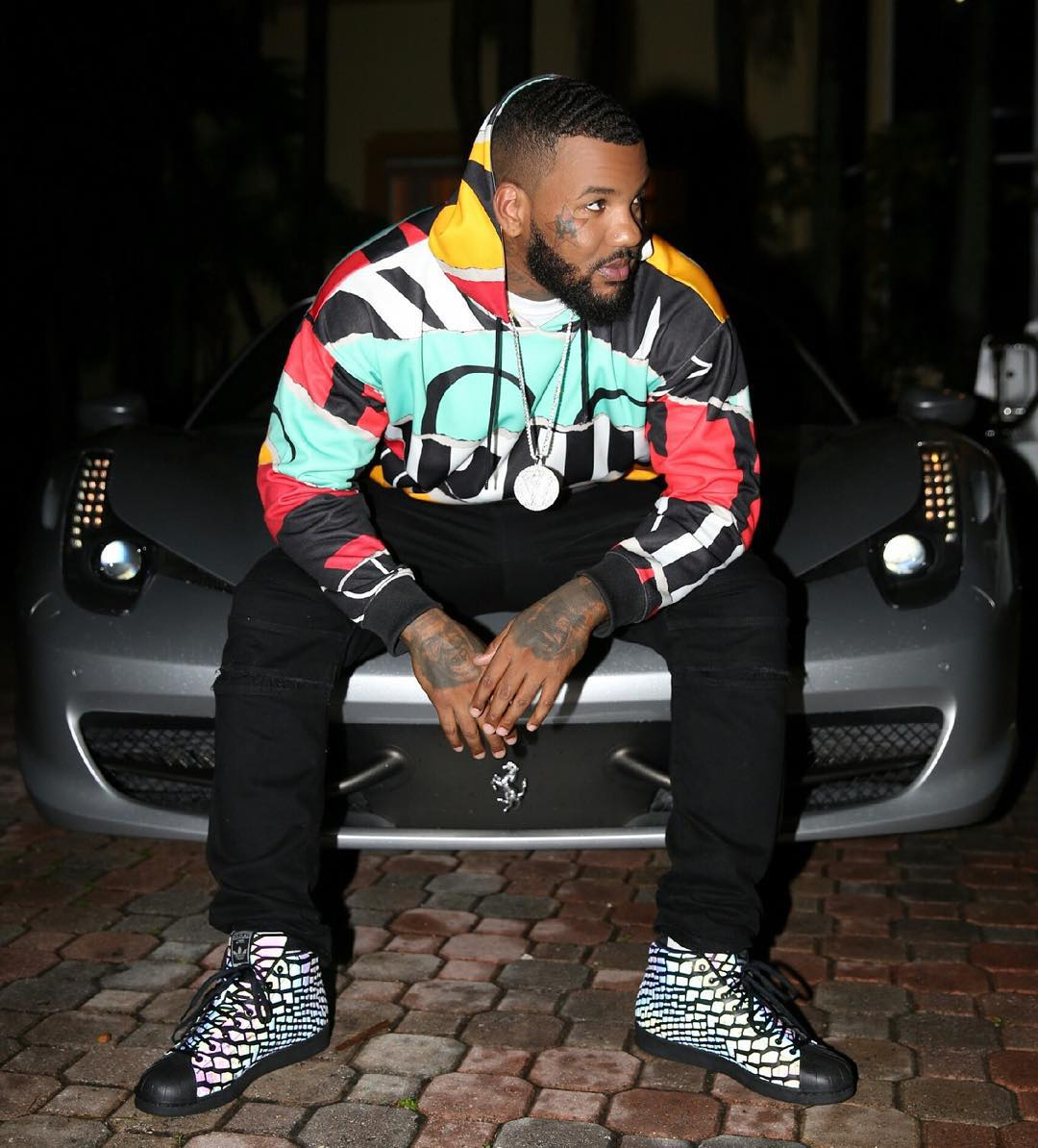 The Game wearing the 'Black' adidas Originals Pro Model Xeno