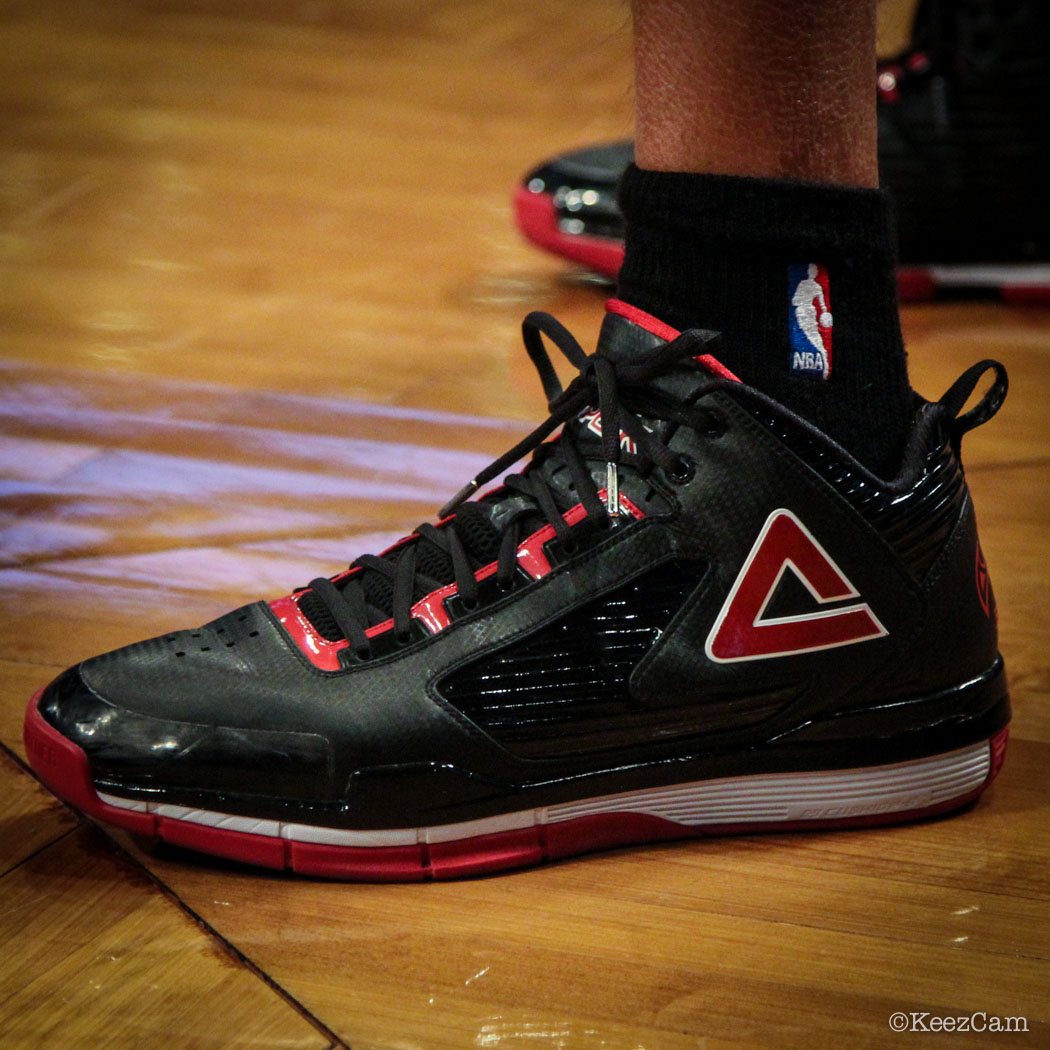 Sole Watch // Up Close At Barclays for Nets vs Heat - Shane Battier wearing PEAK Battier 8