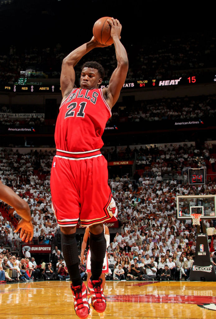 Jimmy Butler wearing adidas Crazy 8 Red White Black