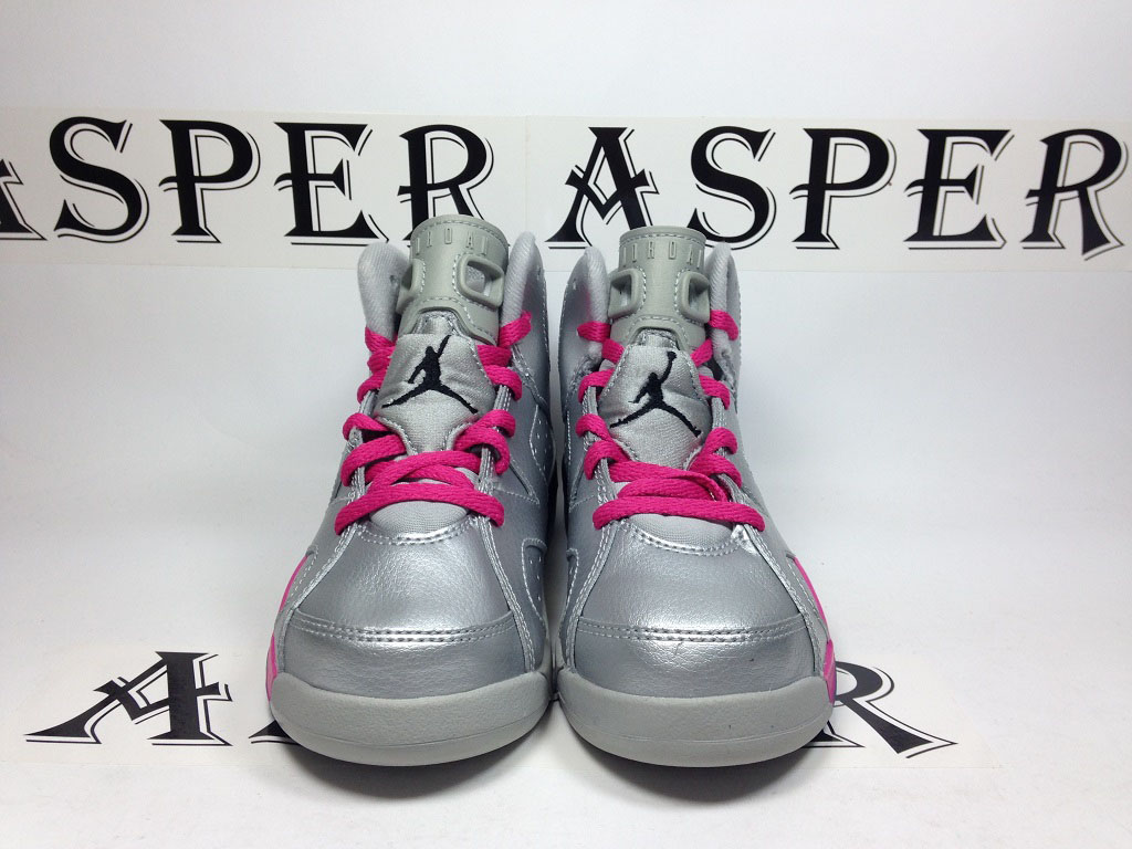 Air Jordan 6 Girls Silver/Pink (6)