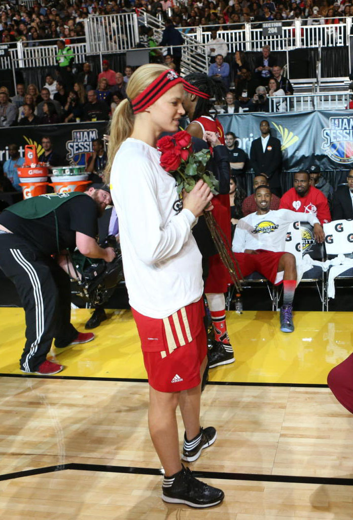 Erin Heatherton wearing adidas Crazy Shadow 2
