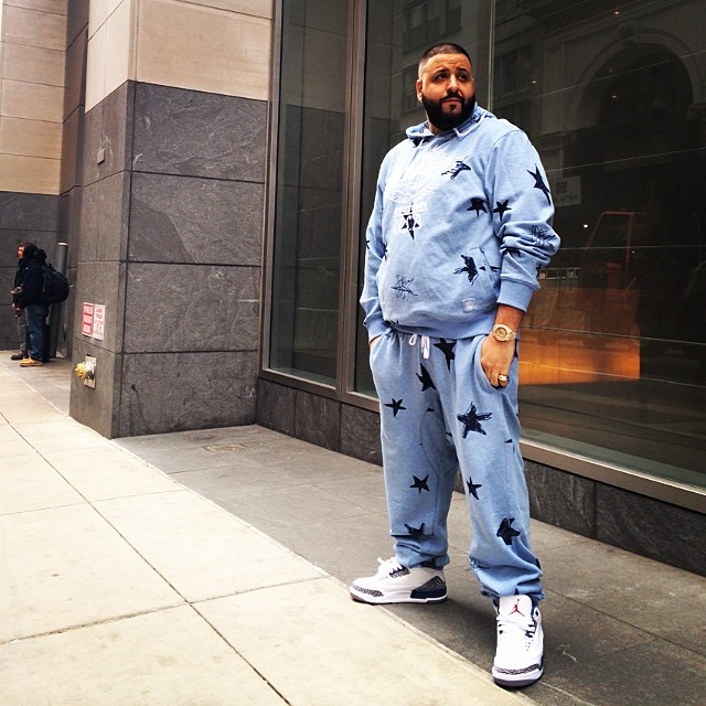 DJ Khaled wearing Air Jordan III 3 Retro True Blue