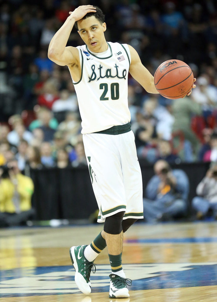 Travis Trice wearing Nike KD VI 6 Michigan State Spartans PE