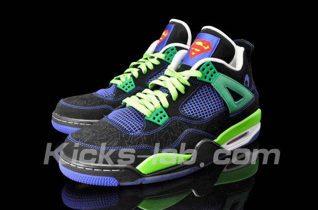 Air Jordan 4 IV Doernbecher Superman Black Old Royal Electric Green White 308497-015 G