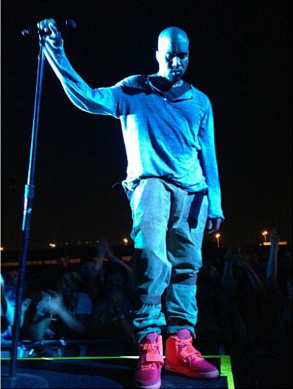Kanye West wears Nike Air Yeezy 2 All-Red at Governor's Ball (2)