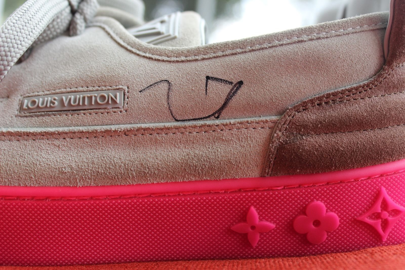 1cbff98619aa Kids Selling Kanye West Signed Louis Vuitton Hudson Sneakers Left Autograph