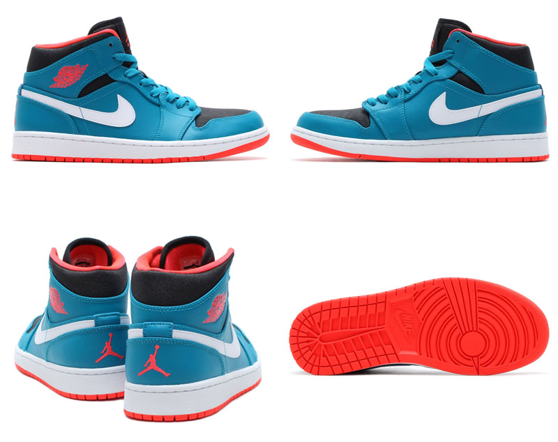 Air Jordan I 1 Mid Tropical Teal/Infrared 23-Black-White 554724-308 (4)