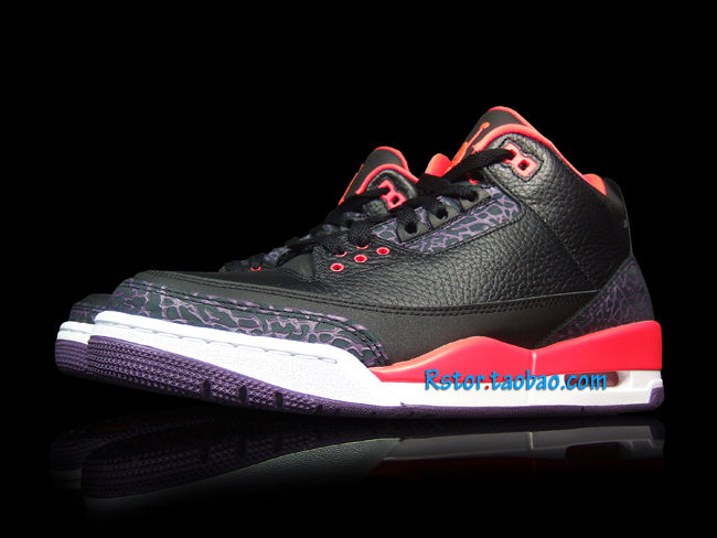 Air Jordan III 3 Black Crimson Purple 136064-005 (4)