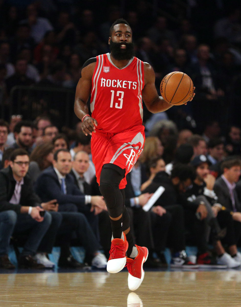 04ece7d12b3e James Harden Wears the Home Adidas Harden Vol. 1 Dribble