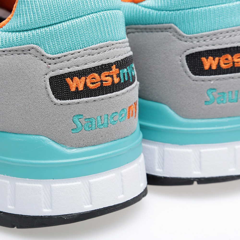 West NYC x Saucony Shadow 5000 Tequila Sunrise ny heel logo
