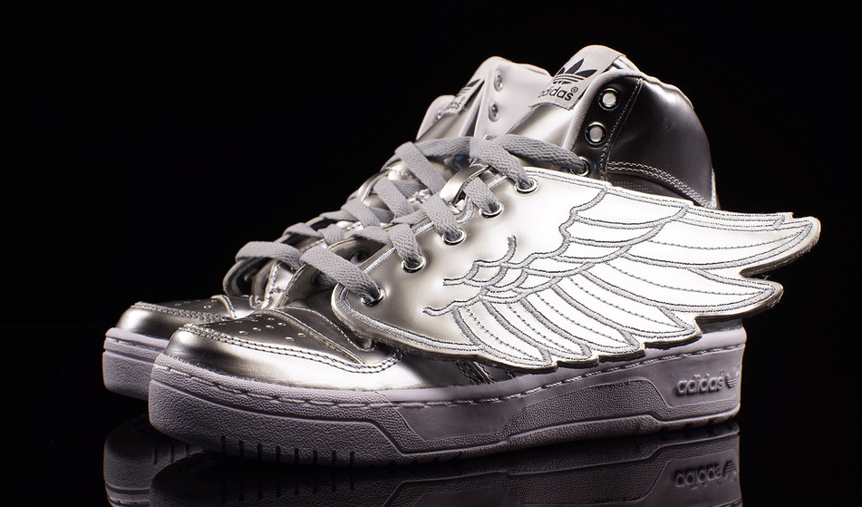 sports shoes c7ca2 a7012 Jeremy Scott s Latest Ostentatious Adidas Sneaker. A silver version of the  popular JS Wings silhouette.