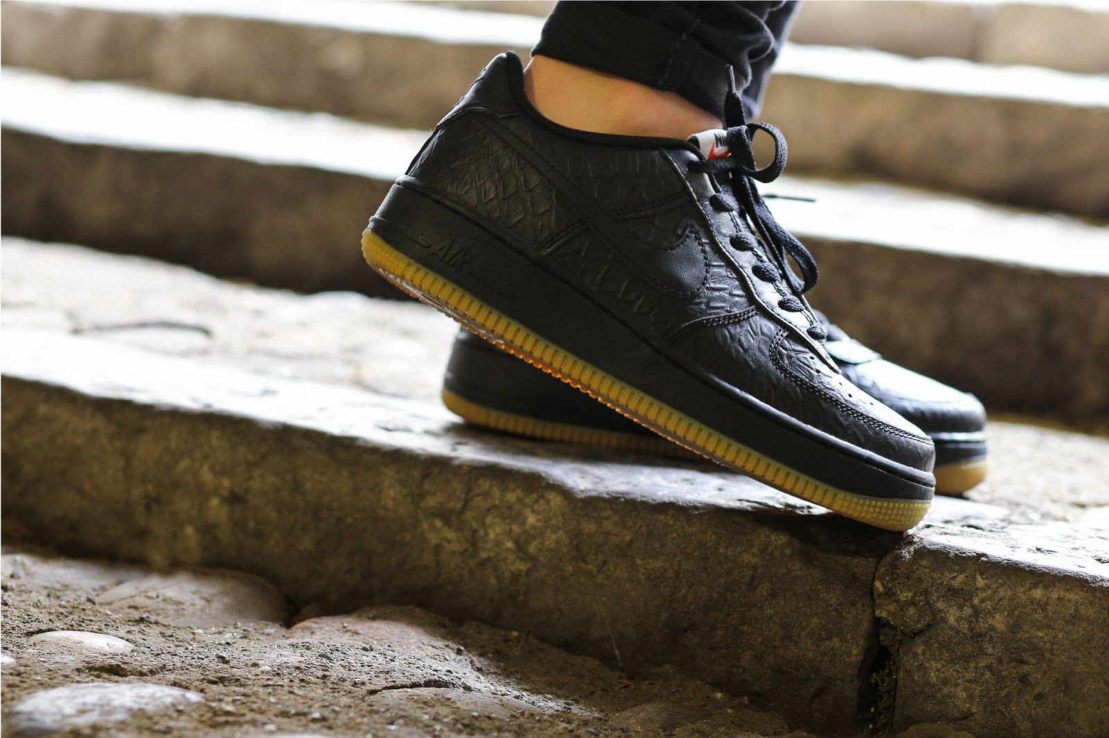 Nike Air Force 1 Black Low On Feet