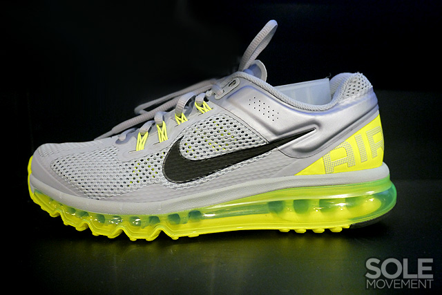 hot sale online 27390 aa810 Nike Running continues to roll out new looks for the Air Max 2013 such as  this impressive Wolf Grey Black-Volt colorway.