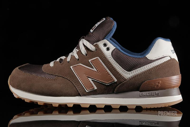 new balance 574 blue brown