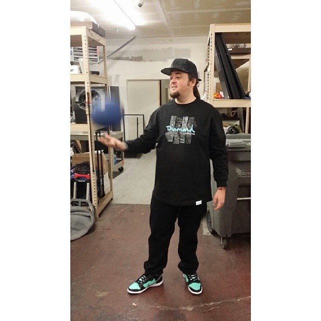 Chumlee wearing Nike Dunk High SB Tiffany