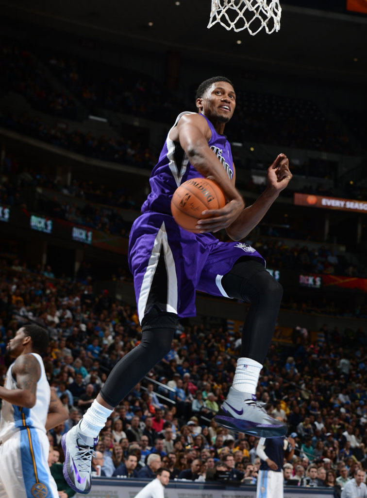 Rudy Gay wearing Nike Zoom HyperRev Kings Grey PE