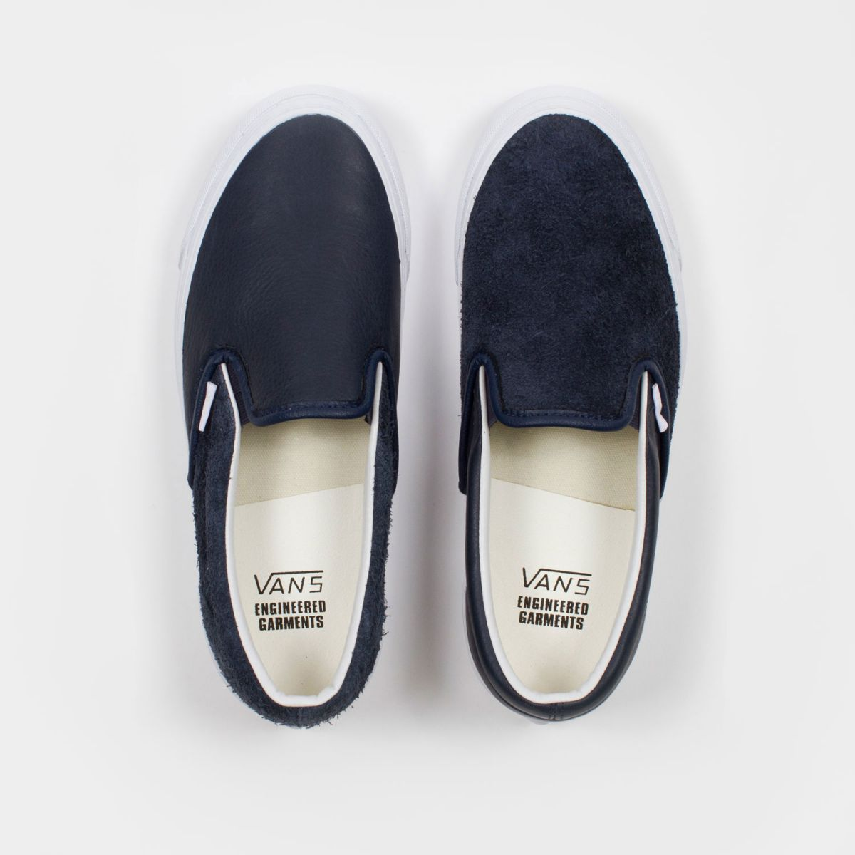 engineered garments x vault by vans og classic slip-on lx lthr navy